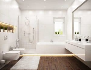 Classic design white bathroom with house plants and parquet flooring