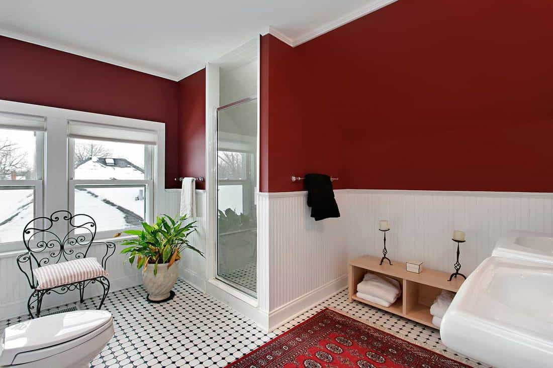 Modern house attic bathroom with red walls and white siding