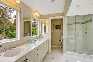 Traditional bathroom with glass door shower
