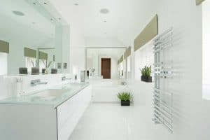 Open and airy interior design of white bright bathroom