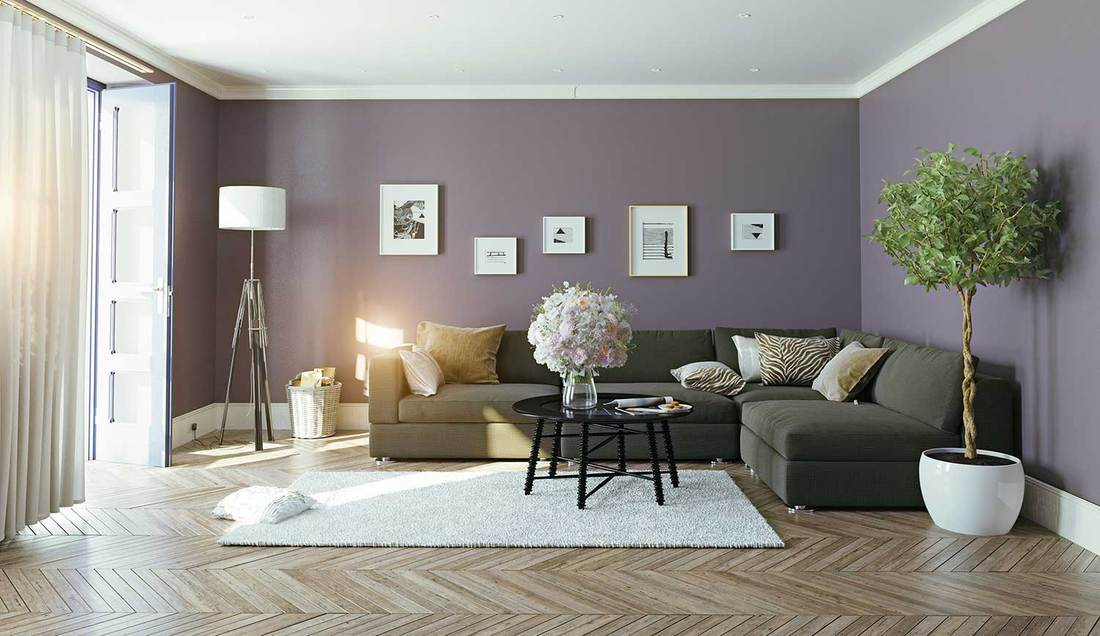 Modern living room interior with dark grey sofa, purple walls and parquet flooring