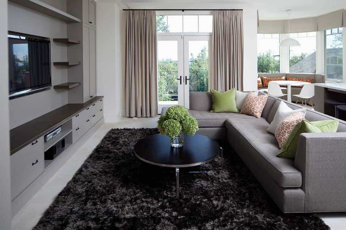 Modern living room interior with grey sofa, dark cozy rug and black coffee table