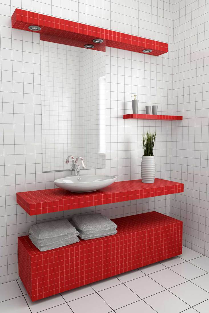 Modern red and white concept tiled washbasin