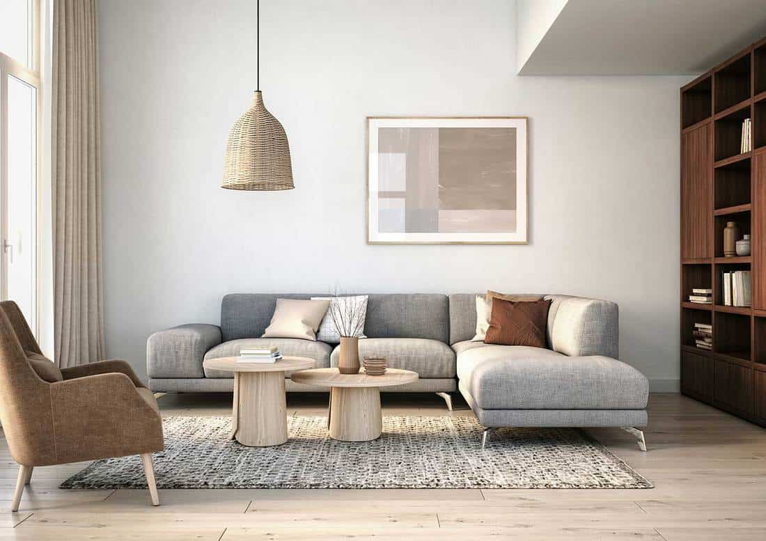 Modern scandinavian interior design living room with gray and beige colored furniture and wooden elements