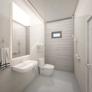 Almost plain white bathroom with texture tiles on the wall