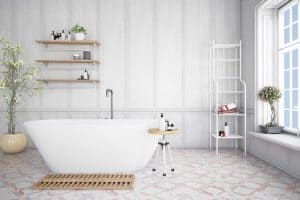 White and simple bathroom with industrial style interior and house plants