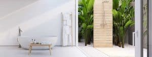 New modern zen bathroom with tropic plants