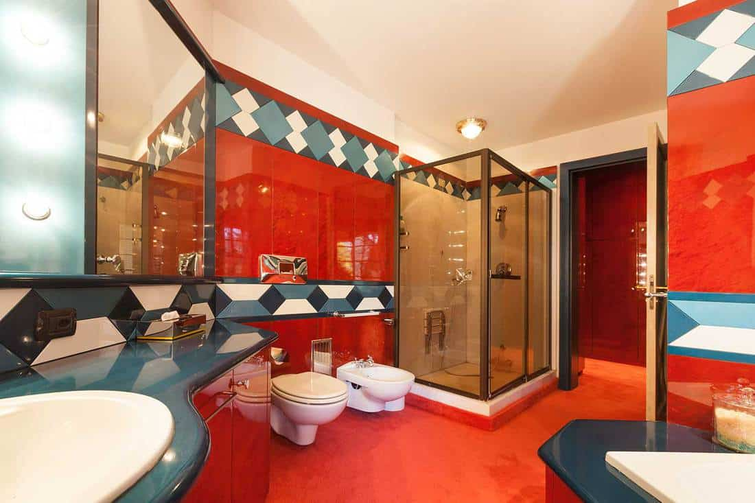 Red and teal color bathroom interior with shower and wash basin