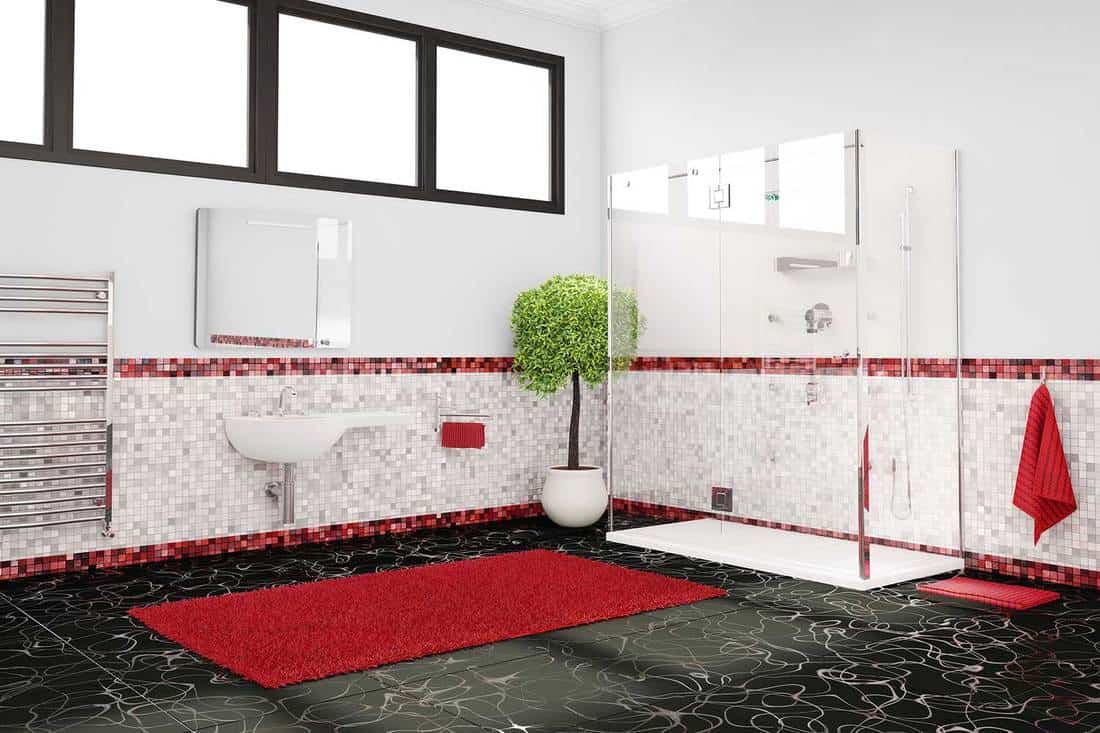 Red, white and black color concept large modern bathroom with mosaic tiles and shower