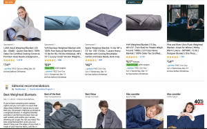 Amazon page / site for weighted blanket for sale