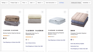 Bed Bath and Beyond page / site for weighted blanket for sale
