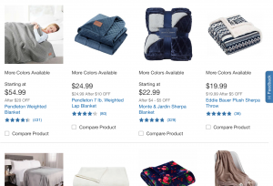 Costco page / site for weighted blanket for sale