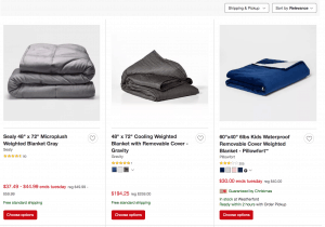 Target page / site for weighted blanket for sale