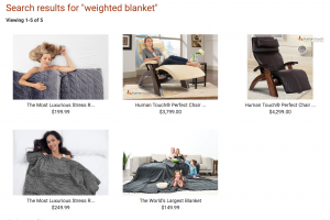 The Sharper Image page / site for weighted blanket for sale