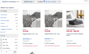 Sears page / site for weighted blanket for sale