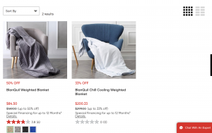 Mattress Firm page / site for weighted blanket for sale