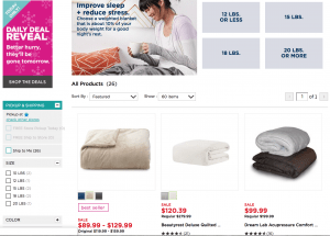 Kohl's page / site for weighted blanket for sale