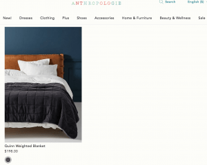 Anthropologie page / site for weighted blanket for sale