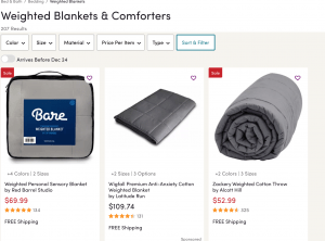 Wayfair page / site for weighted blanket for sale