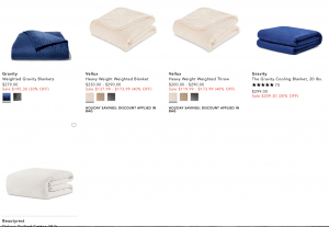 Bloomingdale's page / site for weighted blanket for sale