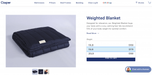 Casper page / site for weighted blanket for sale