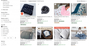 Etsy page / site for weighted blanket for sale