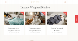 Luxome page / site for weighted blanket for sale