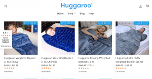 Huggaroo page / site for weighted blanket for sale