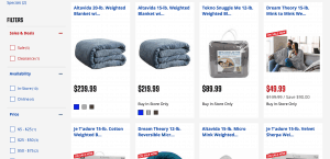 Big 5 Sporting Goods page / site for weighted blanket for sale