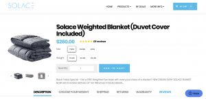 Solace Weighted Blanket page / site for weighted blanket for sale