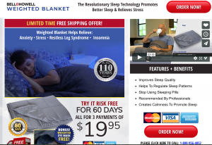 Bell + Howell page / site for weighted blanket for sale