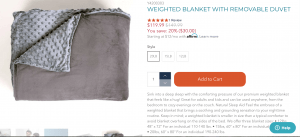 YogaSleep page / site for weighted blanket for sale