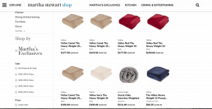 Martha Stewart page / site for weighted blanket for sale