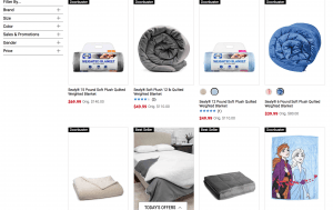 Belk page / site for weighted blanket for sale