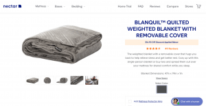 Nectar Sleep page / site for weighted blanket for sale