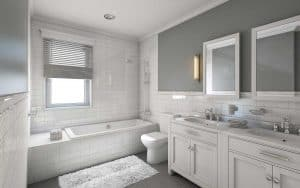 Relaxed grey and white modern bathroom interior with brick wall