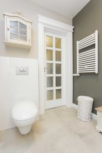 Bright white toilet in a classic layout