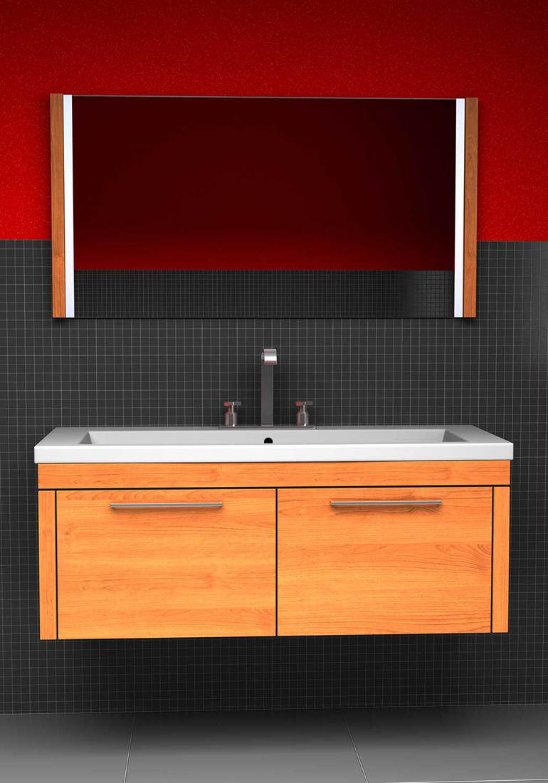 Washroom with dark mosaic tiles and red walls