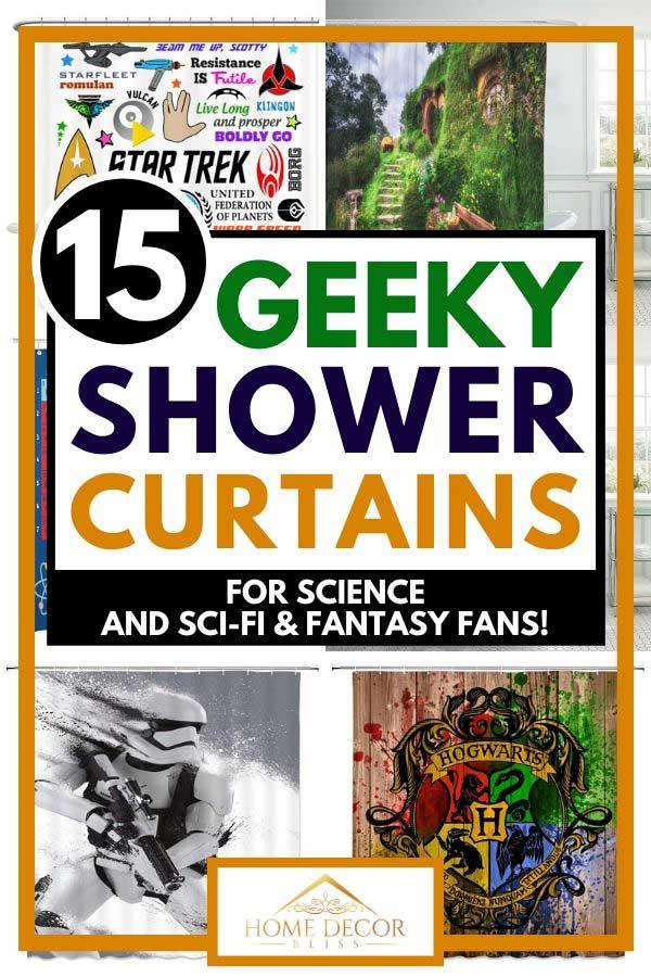 Educational Shower Curtain Biology Symbols Print for Bathroom