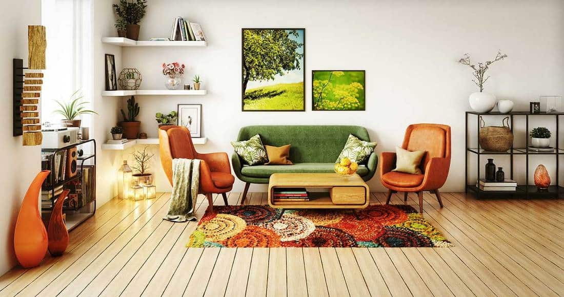 70s style living room interior design with white wall and hardwood floor