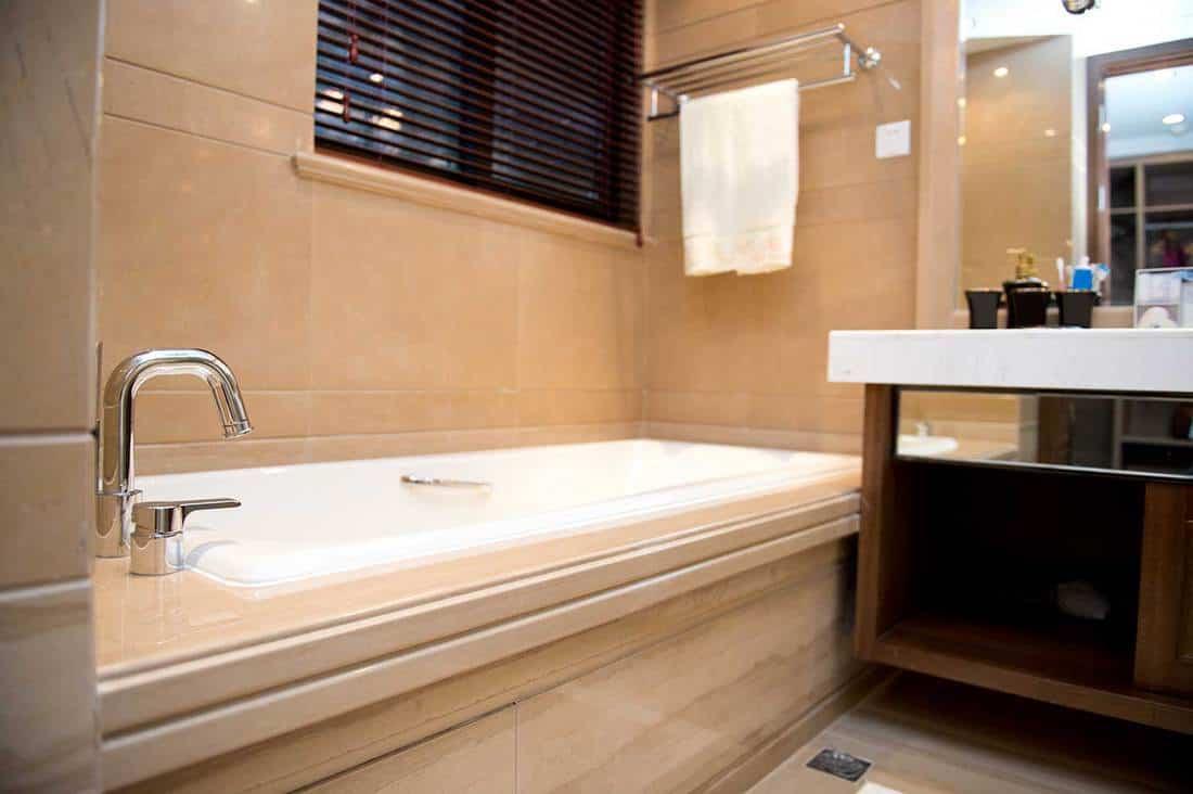 Bathtub in a modern hotel room