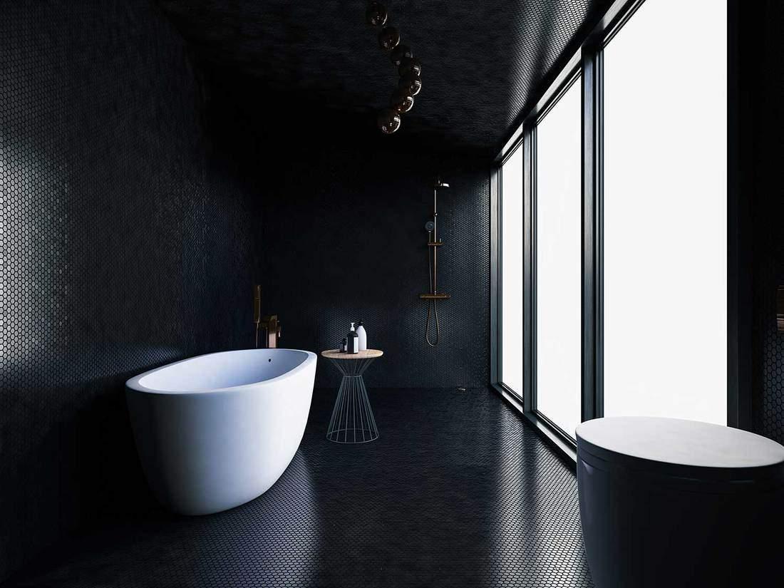 Bathtub in large black luxury minimalist bathroom interior