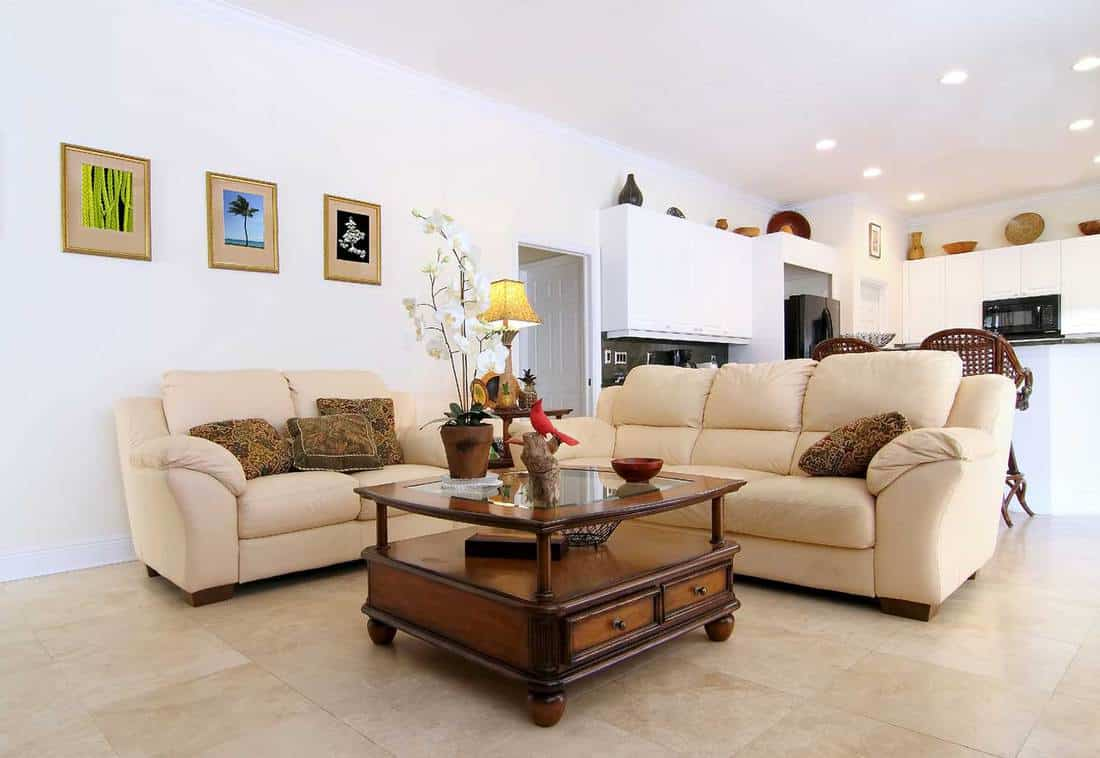 Beautiful classic family room with cozy sofa, wooden table, tiled floor and white wall