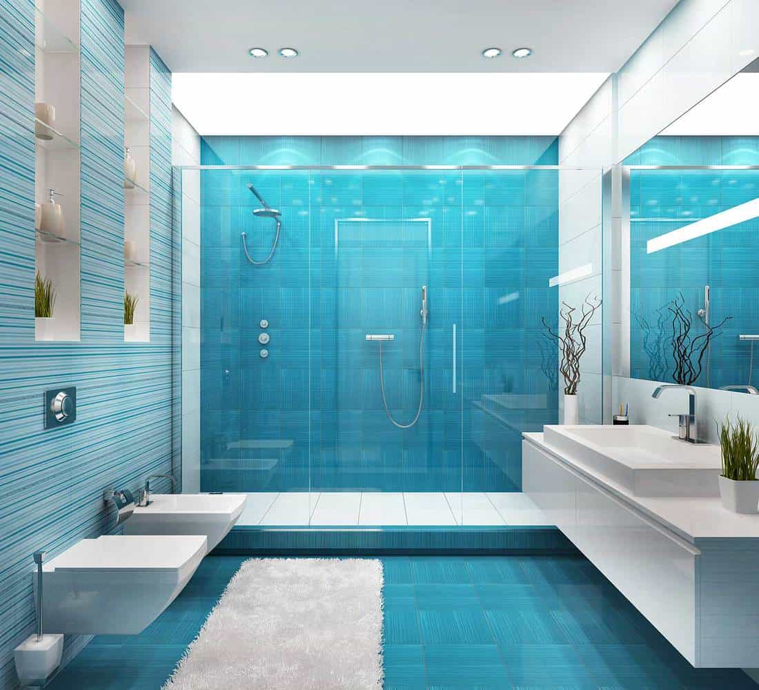 Blue coastal bathroom interior with large white sink, shower and toilet