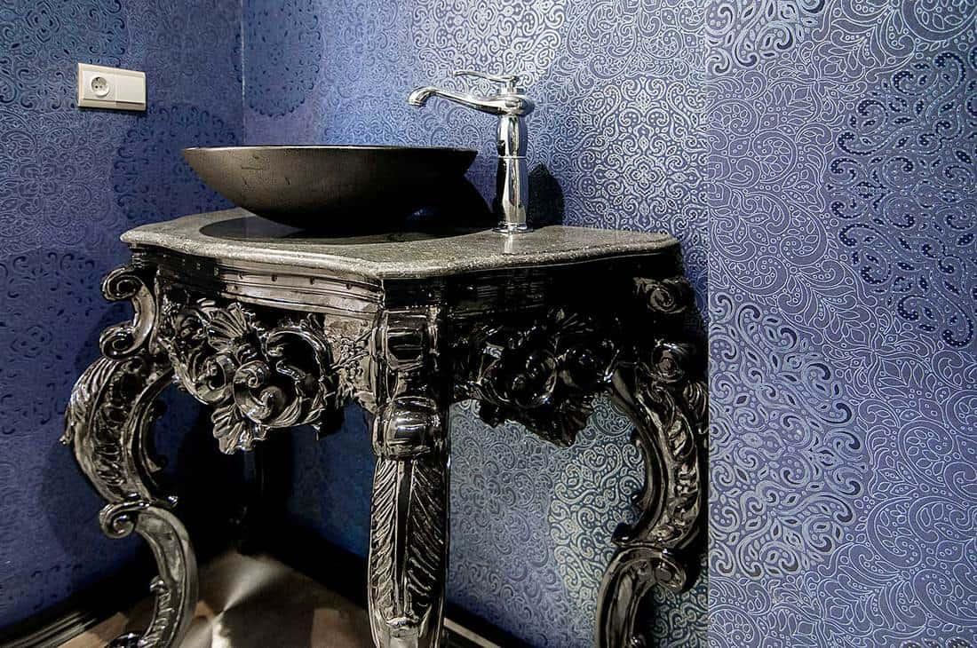 Classic black sink interior