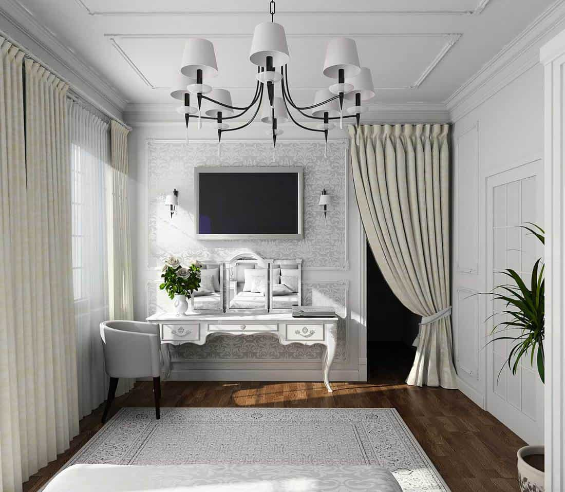 Classic design interior on a white house living room with parquet flooring