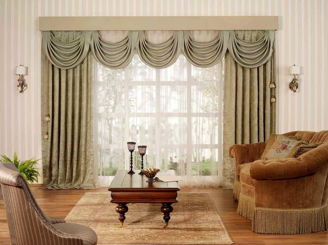 Classic living room interior with large glass window