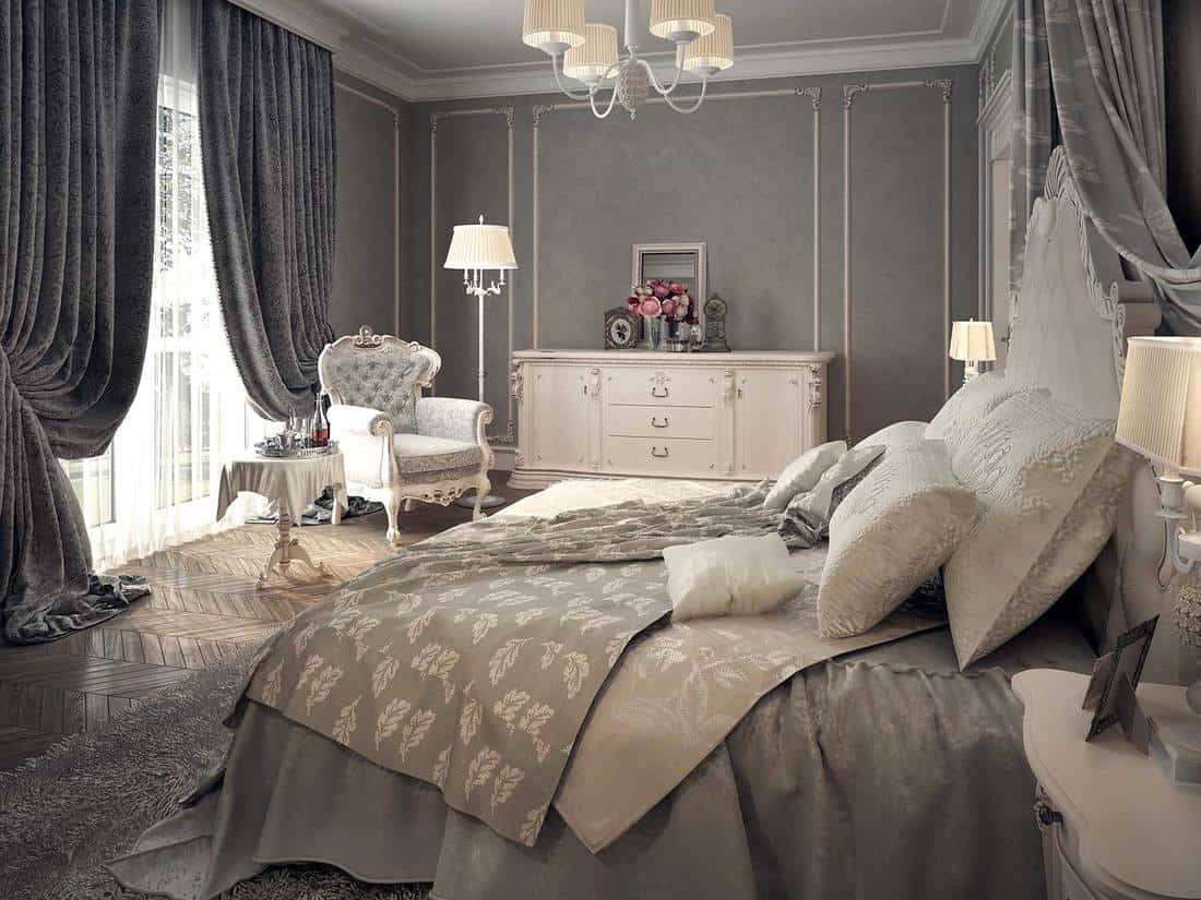 Classic luxury gray themed bedroom interior