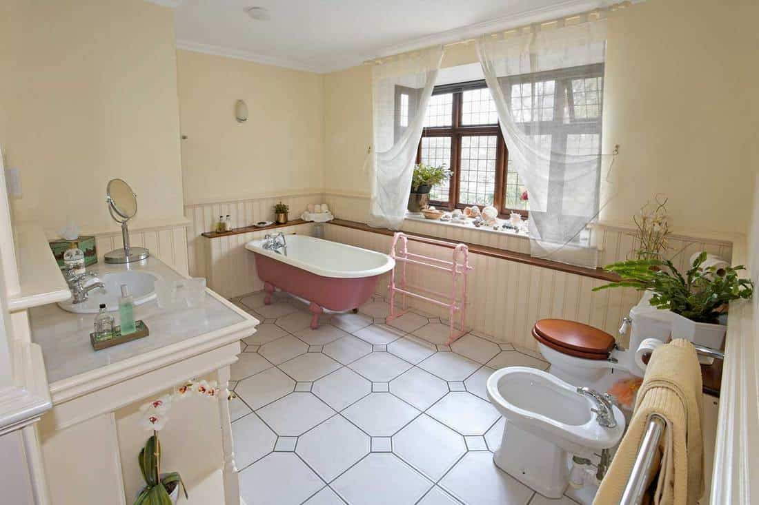 Clean country house bathroom with pink bathtub