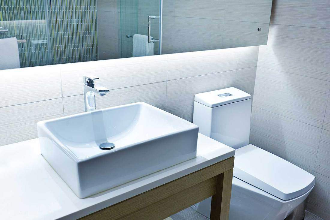 Contemporary modern bathroom toilet and sink